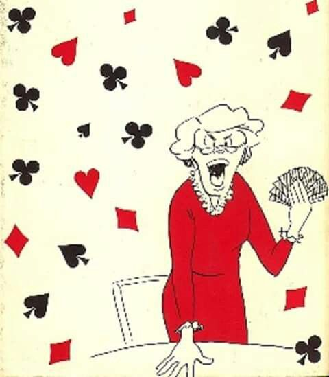 Lady playing bridge